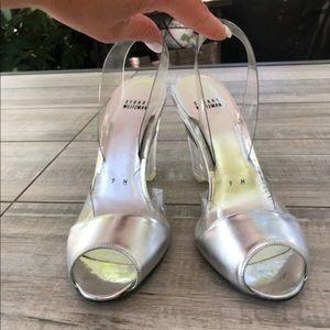 Stuart Weitzman Silver Heels Size 9 🍓